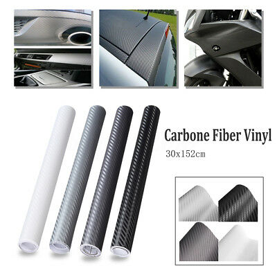 "12""x60"" 3D Autocollant Sticker Film Vinyle Carbone Thermoformable Adhesif Auto"