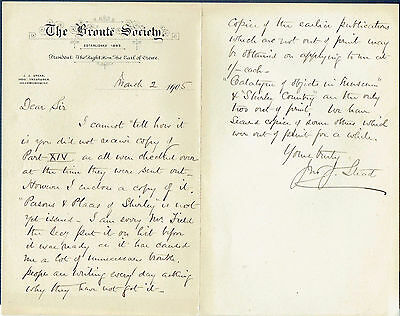 1905 Letter from The Bronte Society. Attractive headed notepaper