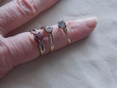 3 Super Used Stamped 9Ct Gold Rings With Stones, Including Ruby And Diamond