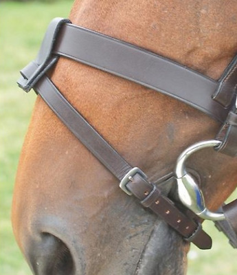 New Shires Brown Leather Flash Noseband Strap with Converter Tab
