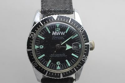 Vintage Original MWW Lucerne Hand Wind Wristwatch Men's Watch Diver Calendar