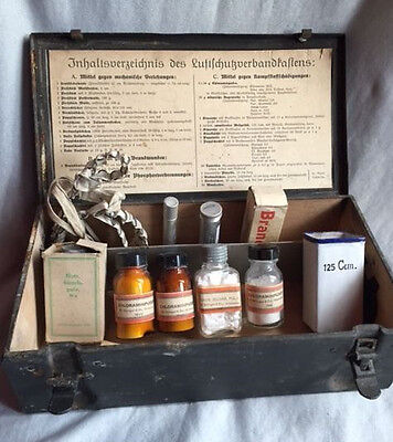 WW2 German Luftschutz (Air Defence) Medical Case with Contents 1940 wehrmacht