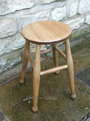 Vintage Round Topped Stool Beech & Ash. Turned Legs with Cross Stretchers
