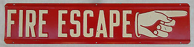 Vintage Embossed FIRE ESCAPE Metal Sign W/Hand Pointing