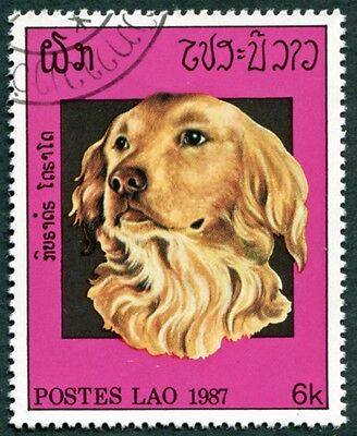 LAOS 1987 6k SG973 used NG Dogs Golden retriever #W31