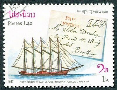 LAOS 1987 1k SG982 used NG Capex 87 Stamp Exhibition Toronto Ships Covers #W31