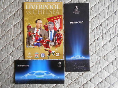 Liverpool V Chelsea Champs Lge Q-Final Prog & Ticket & Menu & Welcome Pack 2009