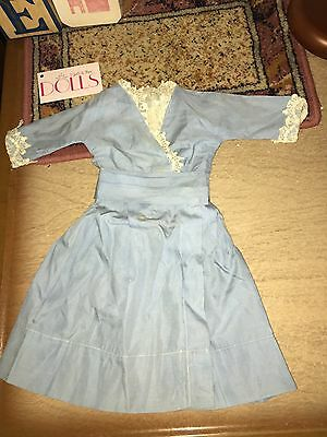 Pretty blue lace trimmed dress with waist sash for antique doll