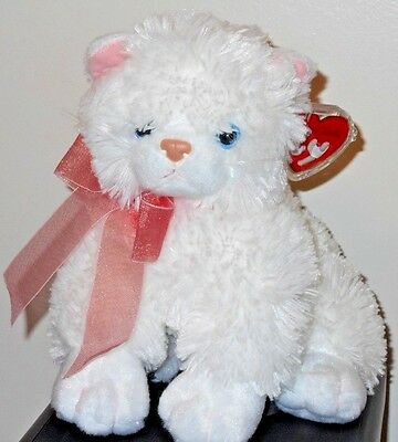 "Ty Classic Plush ~ DESTINY the 11"" White Cat ~ MWMT'S ~ Stuffed Animal Plush Toy"