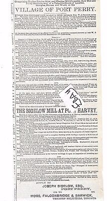 Ad  Port Perry The Village 1887 Sale Of Lands..canada Globe