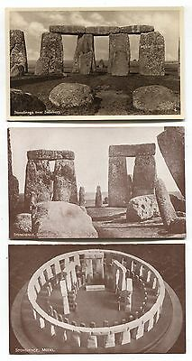 Stonehenge, ancient stones near Salisbury - 3 old Wiltshire postcards