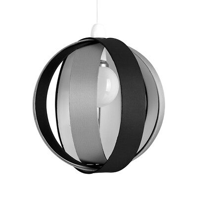 Modern Round Black & Grey Fabric Ceiling Light Pendant Lamp Shade Lampshade Home