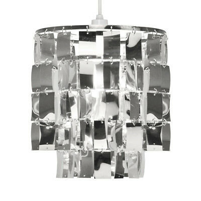 Modern Silver Chrome 2 Tier Ceiling Pendant Light Shade Chandelier Lampshade