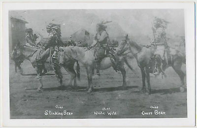 Chief Stinking Bear, Chief White Wolf, Chief Crazy Bear, Wounded Knee, SD RPPC