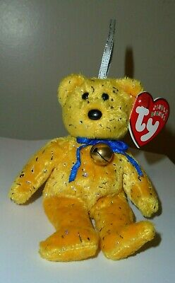 "Ty Jingle Beanie Baby ~ DECADE the (5.5"") Gold Holiday Bear ~ MINT w/ MINT TAGS"