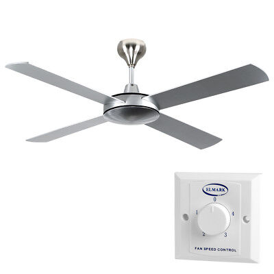 Modern Large 52'' 4 Blade Brushed Aluminium Cooling Ceiling Fan Without Light