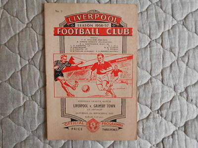 1956/57 Liverpool V Grimsby Second Division Match Programme