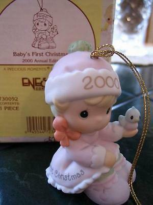 PRECIOUS MOMENTS Bisque Porcelain 2000 Baby Girl First Christmas Ornament NIB