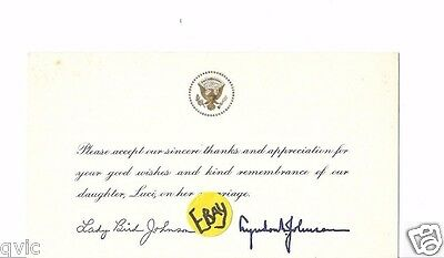 Lyndon Johnson ,lady Bird , Thank You Note For Attending Daughter's Wedding,