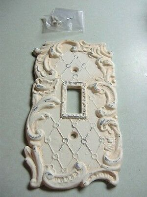 Super Shabby Vtg Cast Metal Painted Light Switch Plate Single Switchplate