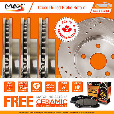 2010 2011 2012 2013 Toyota 4 Runner Cross Drilled Rotors AND Ceramic Pads F+R