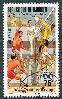 DJIBOUTI 1983 75f SG873 used NG Olympic Games Los Angeles Volleyball a #W30