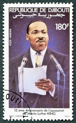 DJIBOUTI 1983 180f SG881 used NG Celebrities Martin Luther King AIRMAIL a #W30