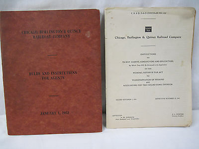 1953 Chgo,Burlington,Quincy RR Co. Rules for Agents + 1941 Tax Instructions   mz