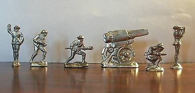 WW1 Soldiers With Cannon - Set of 5 Lead Soldiers - From Vintage Mold