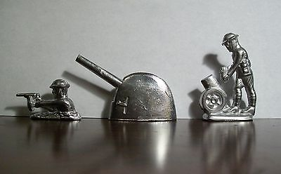 World War 1-Lead Toy Soldiers-Set of 3-2 Soldiers-2 Canons-From Vintage Mold
