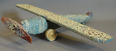 1930's Antique AIRPLANE Old WOOD Folk Art AVIATION TOY Childs PAINTED Prop PLANE