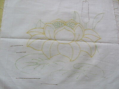 35 vintage cotton quilt blocks stamped with water lilies cattails to embroider