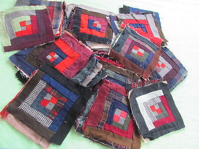 56 antique log cabin quilt blocks wool crepe hand stitched