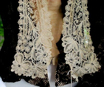 Antique Hand Brussels Lace Long Collar
