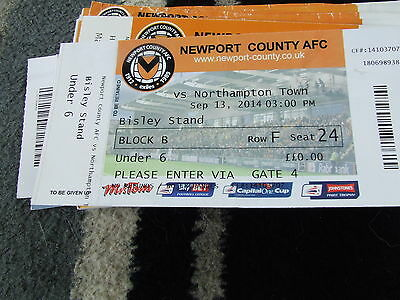 Newport County V Northampton Town 2014-15  Football Ticket Only