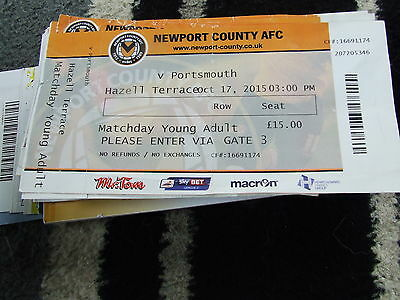Newport County V Portsmouth 2015-16 Football Ticket Only X 2