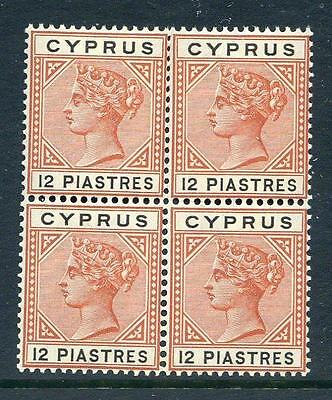 Cyprus Queen Victoria 1894-6 12p mint unmounted block 4 (2017/06/12#224)