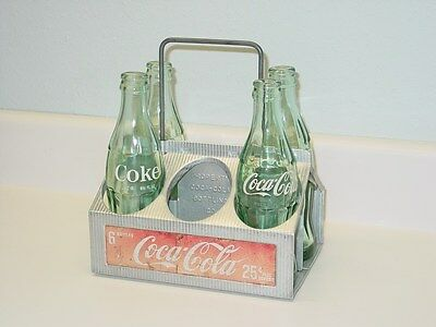 Vintage Coca-Cola Metal Carry Container and Four (4) Bottles