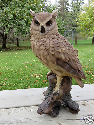 """14.5 """" Great Horned  Owl Figurine On Tree Stump  Hooter Statue Wise Old Owl"""
