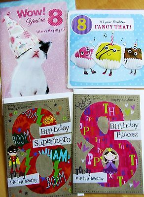 8th Birthday selection of 4 x cards quality product