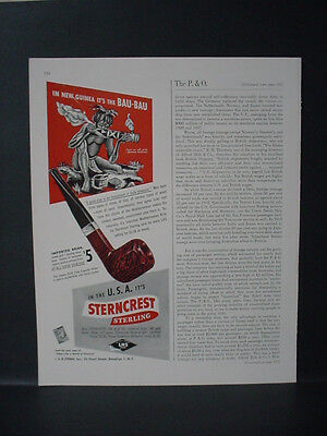 1946 Sterncrest Sterling Native New Guinea Bau-Bau Pipe Vintage Print Ad 11013