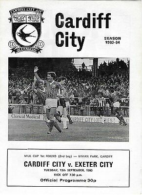 Football Programme>CARDIFF CITY v EXETER CITY Sept 1983 Milk Cup