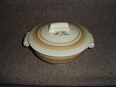 Art Deco  Grindley Brown Striped Tureen/vegetable Dish With Flowers To Lid