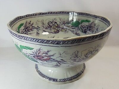 Antique Staffordshire Pottery  Fruit Or Punch Bowl Early Transferware