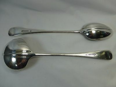 Walker & Hall A1 Silver Plated Rat Tail Serving Soup Ladle & Basting Gravy Spoon
