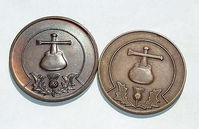 "2 x VINTAGE BRONZE SCOTTISH MASONIC MEDALS TOKENS ""EVERYMAN A PENNY"" - LOT 143"