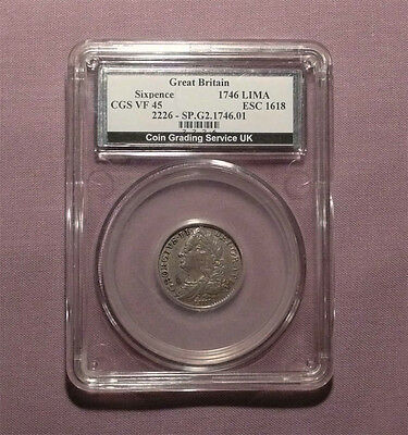 1746 (LIMA) KING GEORGE II SILVER SIXPENCE - Graded Good VF By CGS