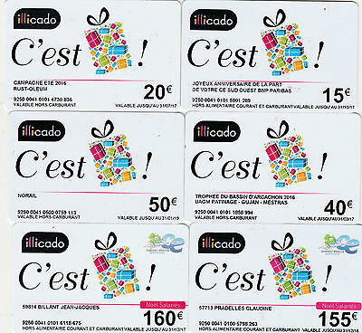 CARTE CADEAU  GIFT CARD -  Lot  6 cartes ILLICADO (privees) (FRANCE)