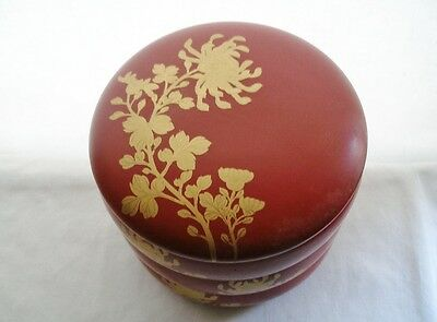 Outstanding OLD Japanese LACQUER Wood BENTO Box BEAUTIFUL Gold MUMS or PEONIES