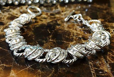 """NEW 925 Sterling Silver Chain Link Bracelet Cuff Bangle 8"""" Gift Toggle Clasp"""